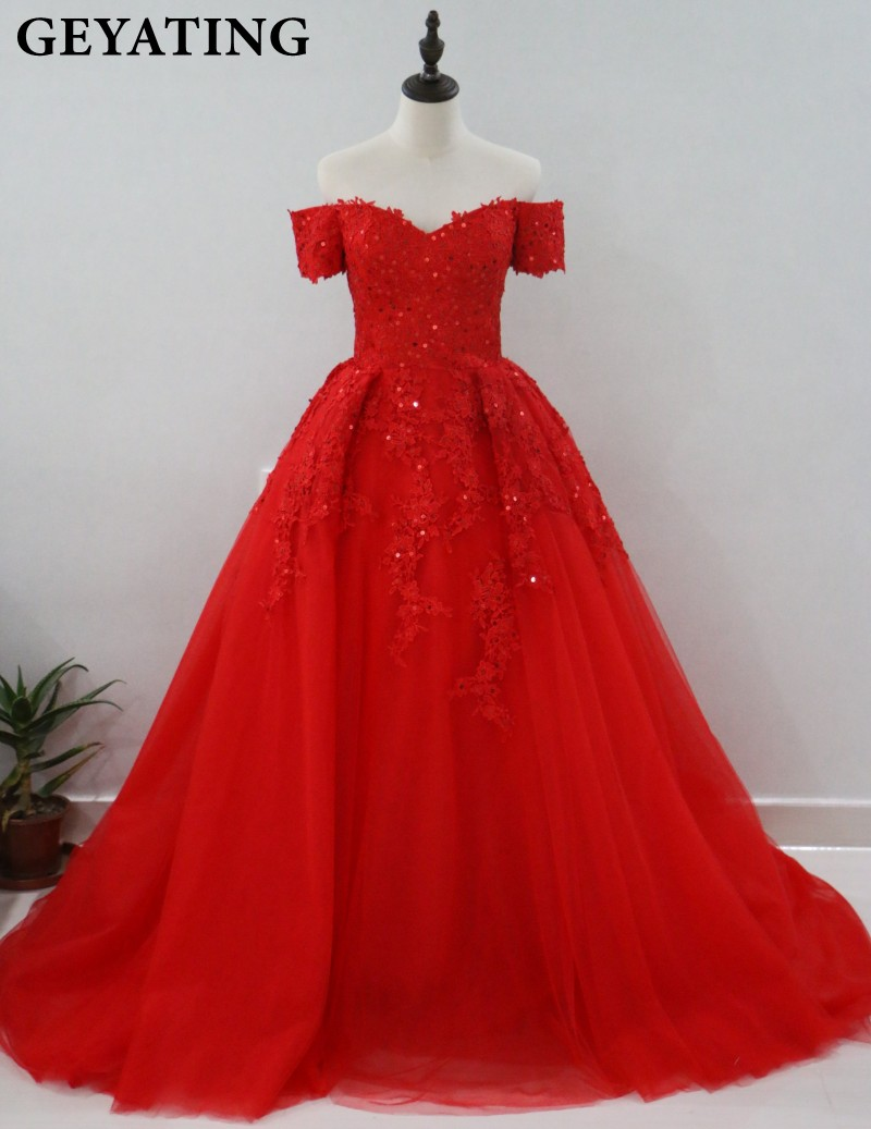 8c6f2b38662 Red Puffy Ball Gown Arabic Evening Dress Off Shoulder Lace Appliques Beaded  Long Prom Dress in Dubai Robe De Soiree Kaftan Gowns-in Evening Dresses from  ...