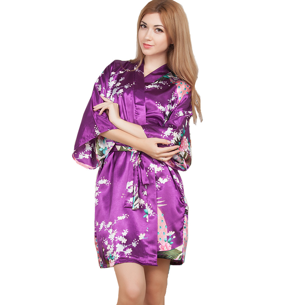 New Wedding Bride Bridesmaid Robe Floral Bathrobe Short Kimono Night Robe Bath Robe Fashion Dressing Gown For Women One Size T14