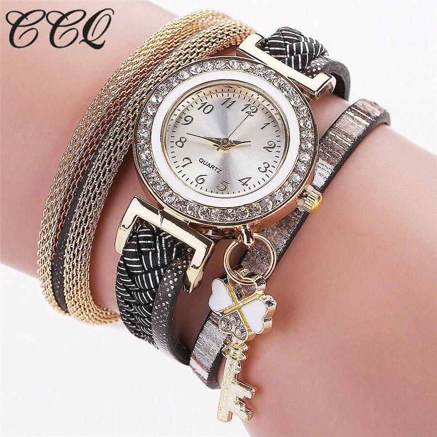 2017 New Fashion Gold Luxury Crystal Key Watch Casual Women Bracelet Watch Leather Vintage Watch Sport Clock Gift 2027 ботильоны gold key gold key go020awmbq30