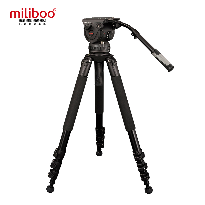 Miliboo Professionnel Film de Diffusion Trépied M15L 3 Section avec Fluid Head Charge 18 kg Max Hauteur 207 cm Diamètre Du Tube 25mm