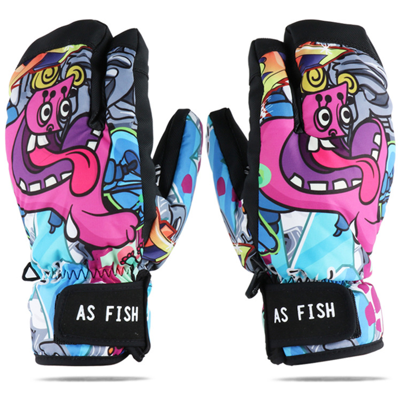 -30 Super Warm Cartoon Snowboard Gloves for Motorcycle Ski Gloves Waterproof Snow Cycling Skiing Winter Gloves Plus Size L-XXL