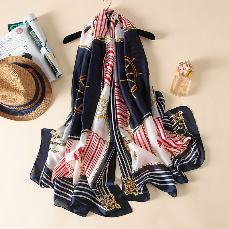 2019 Navy Rudder Scarf Women Printing Striped Female Scarves Satin Silk Feeling Long Soft Shawl Wraps 180 90cm in Women 39 s Scarves from Apparel Accessories