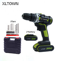 XLTOWN 21V 2000mAh electric screwdriver household cordless electric drill Rechargeable electric screwdriver with 2 battery
