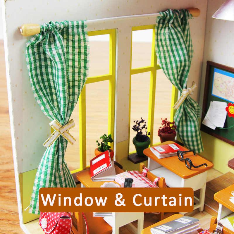 DIY בובת בית רהיטים מיניאטורות עבור בית בובות אור בעבודת יד עץ בית בובות דגם צעצועים לילדים M017 # E