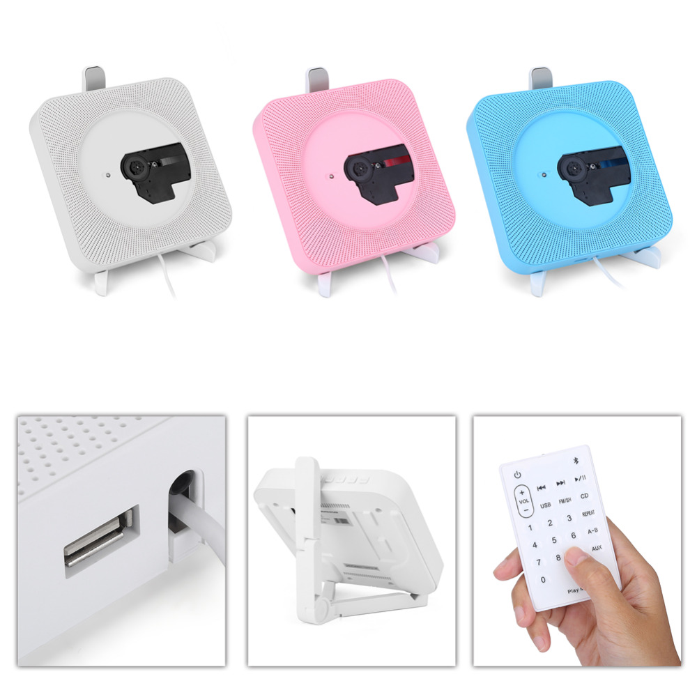 VBESTLIFE <font><b>Portable</b></font> Wall Mounted <font><b>Bluetooth</b></font> 2.1 <font><b>CD</b></font> <font><b>Player</b></font> FM Radio for US Plug with Remote Control