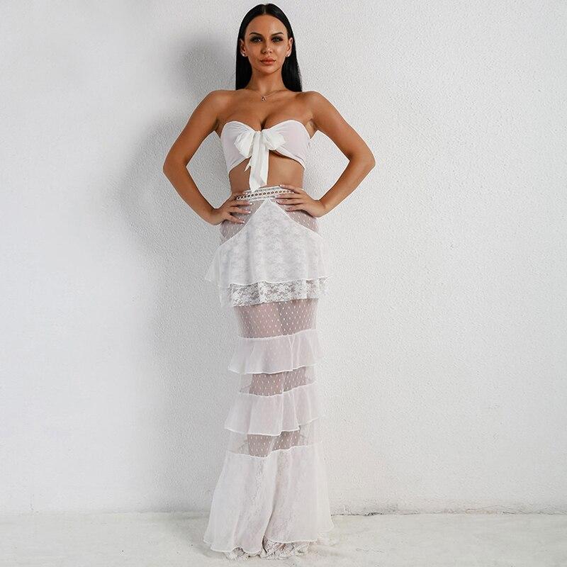 Nouvelle Arrivée De Mode Blanc 2 pièce Ensemble Pour L'été Femmes Vêtements Maille Avec Coton Conception Vacances D'été Fille Robes Dropshipping
