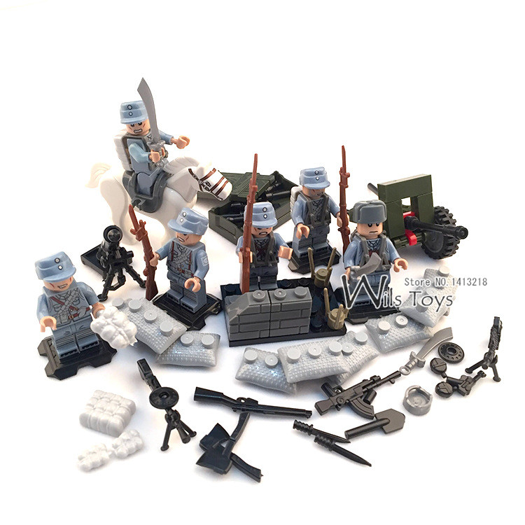 6pcs Chinese Army MILITARY WW2 Soldier SWAT Weapon Special Forces Horse Building Blocks Bricks Figures Toys Boys Gifts Children xinlexin 317p 4in1 military boys blocks soldier war weapon cannon dog bricks building blocks sets swat classic toys for children