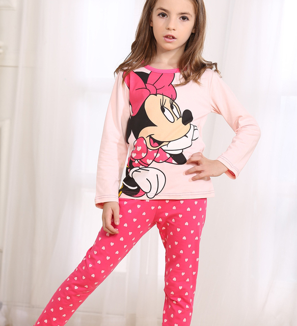 Cartoon Printed Children Girls Pajamas Sets 2 pcs Long Sleeve Sleepwear Sets Kids Girls Cotton Pyjamas 2016 Fall Girls Pajamas