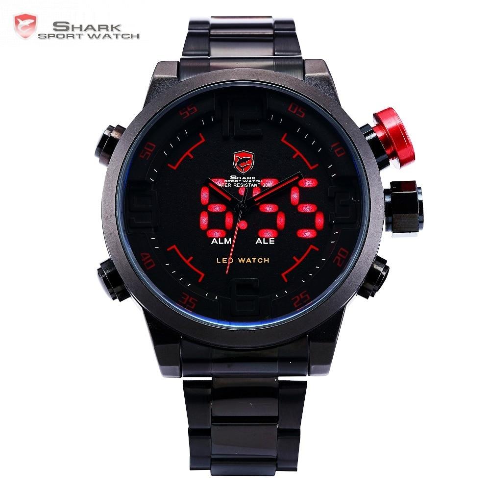 Gulper SHARK Sport Watch Digital LED Men Top Brand Luxury Black Red Calendar Steel Band Wrist Quartz Watches Reloj Hombre /SH105 daybird 3785 unisex quartz wrist watch w hollow calendar black red white silver 1 x lr626