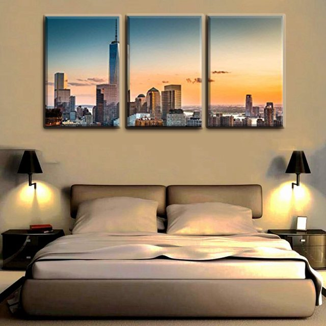 3 Piece Canvas Wall Art Cityscape in the Red Dusk Wall Painting ...