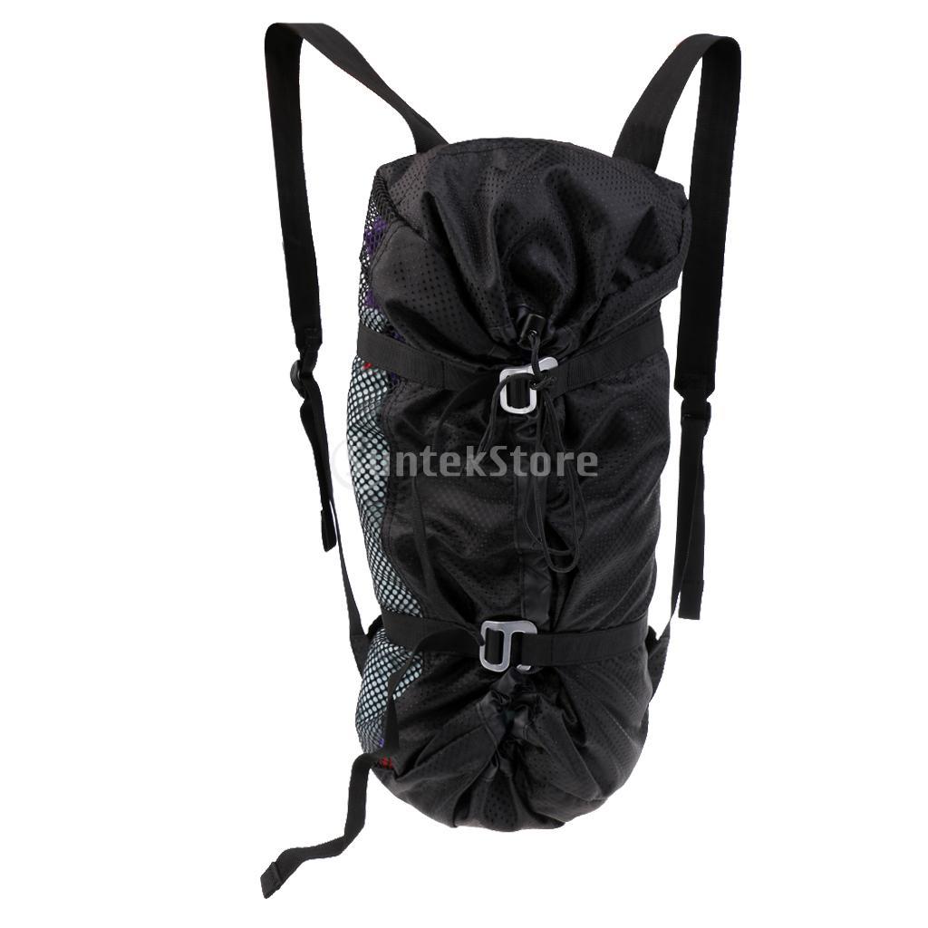 Large Ultra-light Folding Outdoor Rock Climbing Rope Equipment Storage Bag Backpack With Ground Sheet & Shoulder Straps Black