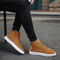 2018 winter Men's vulcanized shoes Men sneakers High quality Lace up High Pipe Retro High top men's canvas shoes brown black