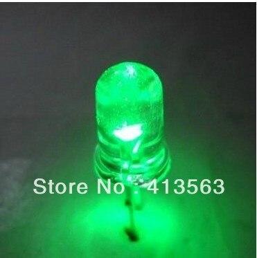 1000PCS   F5 5MM diameter green LED,WHITE BRIGHT GREEN , green LED ,fog lamp emitting tube short legs