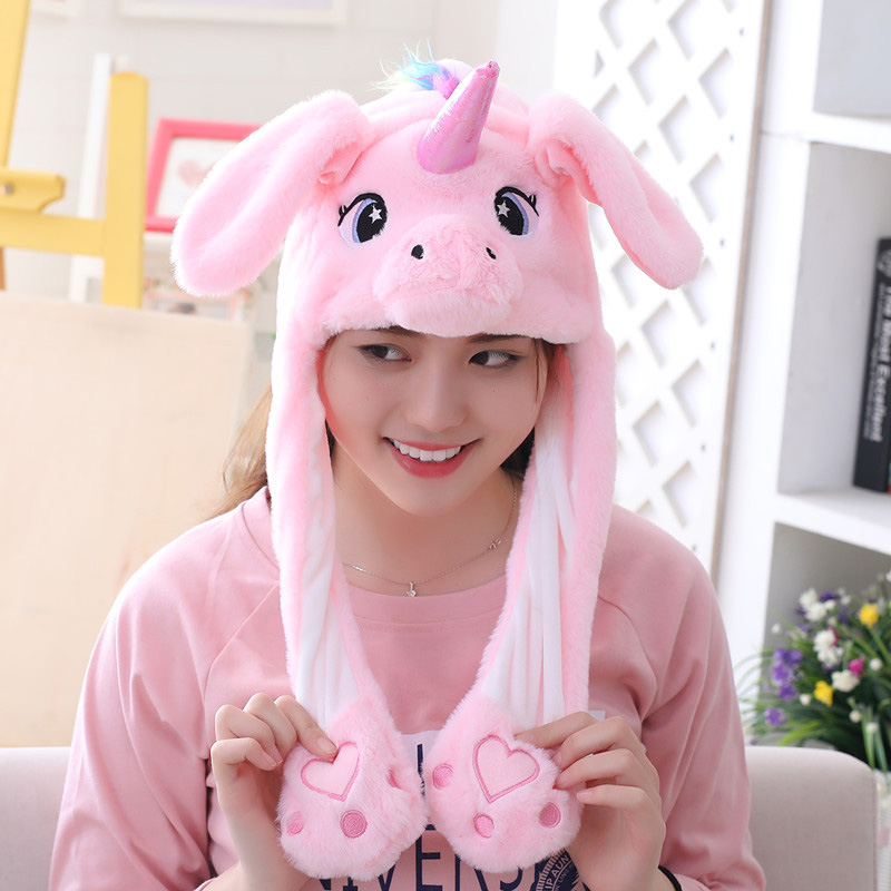 5 Models Unicorn Hat Moving Ears Cute Cartoon Toy Hat Airbag Kawaii Funny Toy Cap Kids Plush Toy For Kids Gift