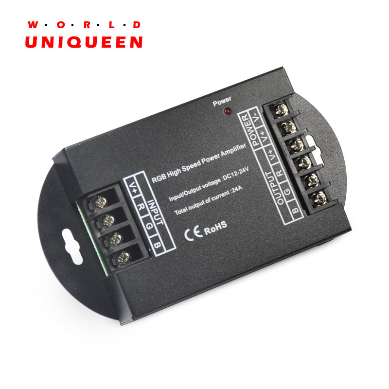 DC12V/288W 24V/576W 3 Channels 24A Output Current Common Anode High Speed LED Light RGB Amplifier, RGB LED Light Power Extension