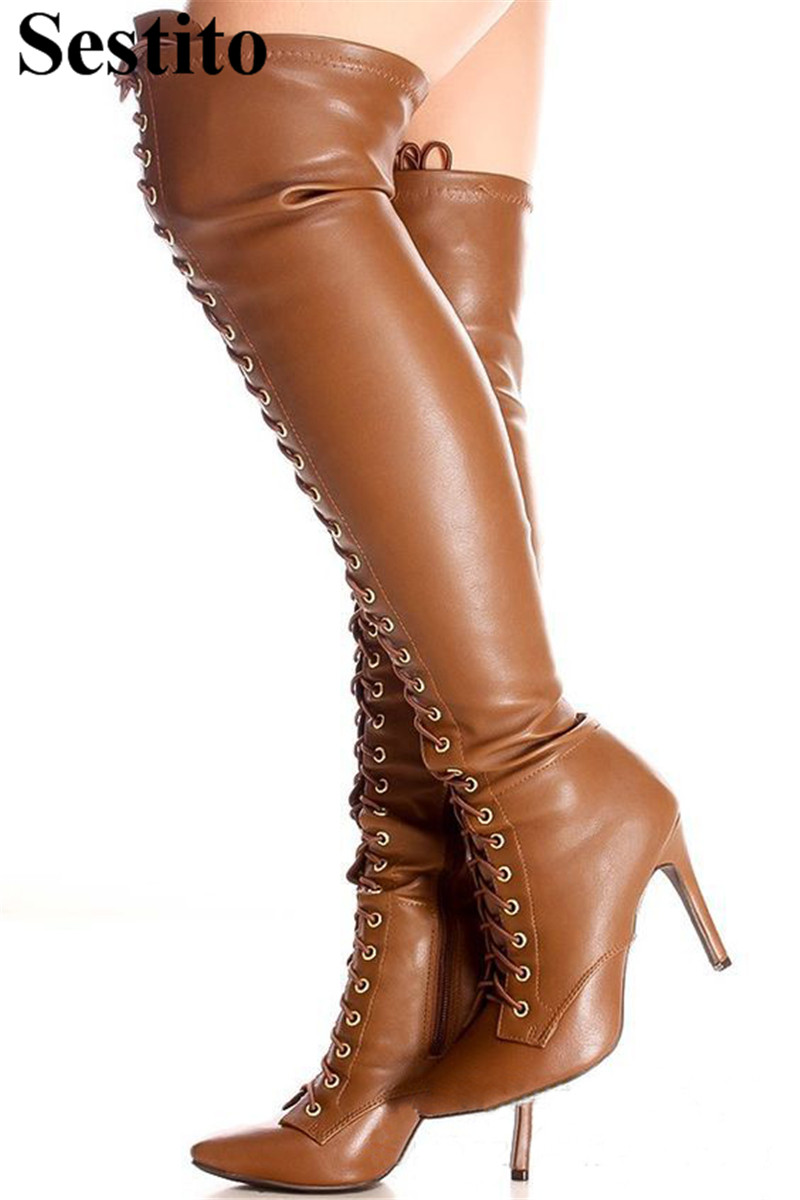 European Fashion Black Pointed Toe Cross-tied Long Boots Woman Thin Heels Over-the-Knee Boots For Women Zip Casual Womens ShoesEuropean Fashion Black Pointed Toe Cross-tied Long Boots Woman Thin Heels Over-the-Knee Boots For Women Zip Casual Womens Shoes