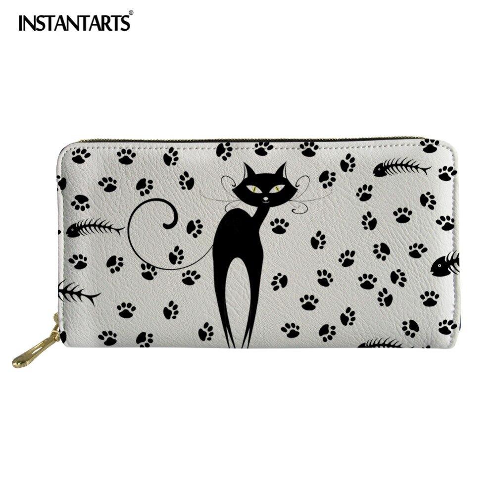 0187c10434f7 INSTANTARTS Lovely Black Cat Prints Long Wallet Interior Zipper Pocket PU  Leather Women Pouch Handbag With Card Holder for Girls