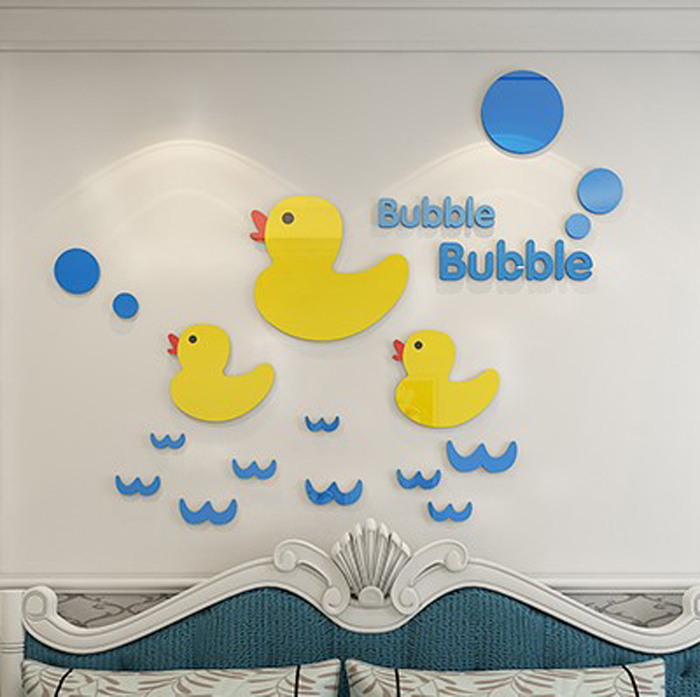 Big yellow duck bubble perspective Acrylic Crystal wall stickers ...