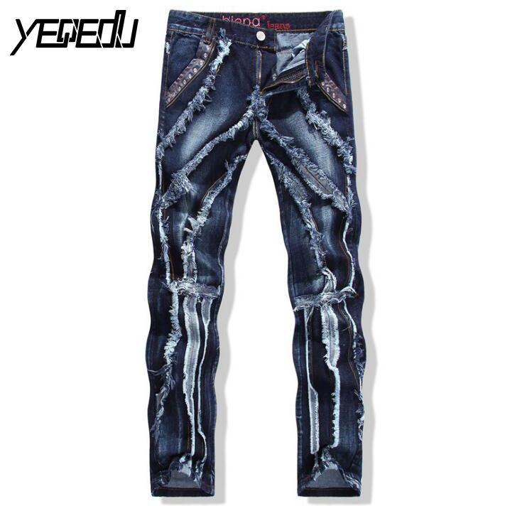 #2705 2017 Jogger jeans hommes Straight Vetement homme Mens ripped jeans Denim biker jeans Designer Hip hop Motorcycle trousers