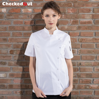 New arrival summer black short sleeve chef jackets metal button closure breathable white baker jacket for women