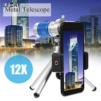 Hot 12X Telescope Zoom Camera Lens Aluminum HD Telephoto Lens With Phone Clip With Tripod For