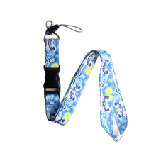 K124 Van Gogh Starry Sky Kanagawa Wave lanyards ID badge holder keychain Card Pass Gym Mobile Badge Holder Lanyard key