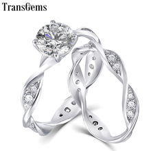 TransGems Solid 14K White Gold Engagement Bridal Set Center 1ct 6.5MM Excellent VVS F Color Moissanite Ring for Women Gift