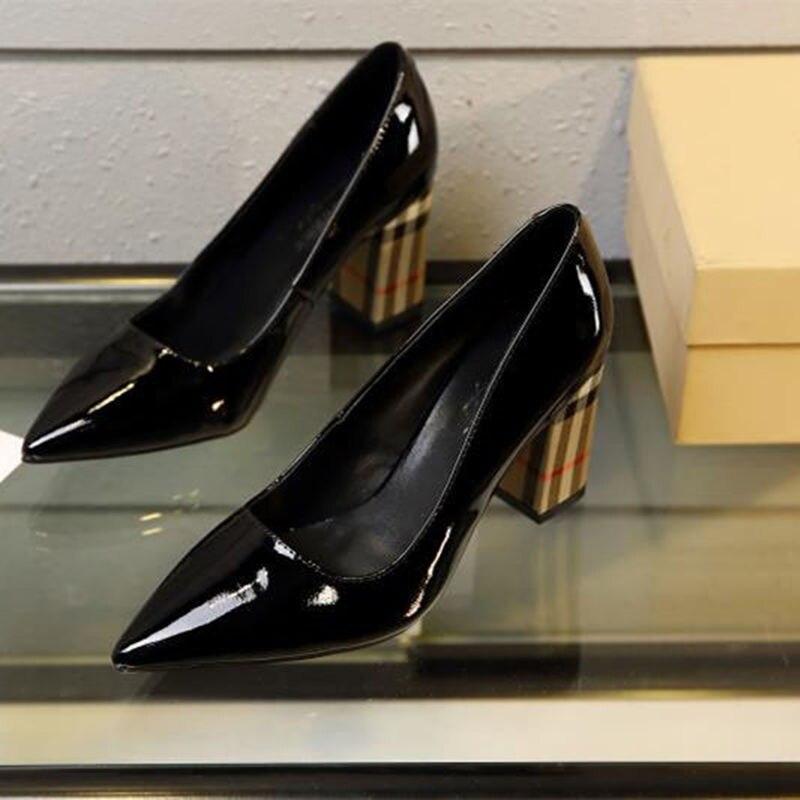 Quadrato Delle A In Alti Mujer Brevetto Poco Scarpe Donna Di Donne Da Sposa Profonde 11cm Black Mucca High Degli Zapatos Pompe Griglia Punta Tacco Talloni Pelle Fva5wqtq