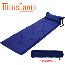 Outdoor camping single automatic inflatable pad thickening moisture proof air cushion tent inflatable bed and pillow can be stit цена