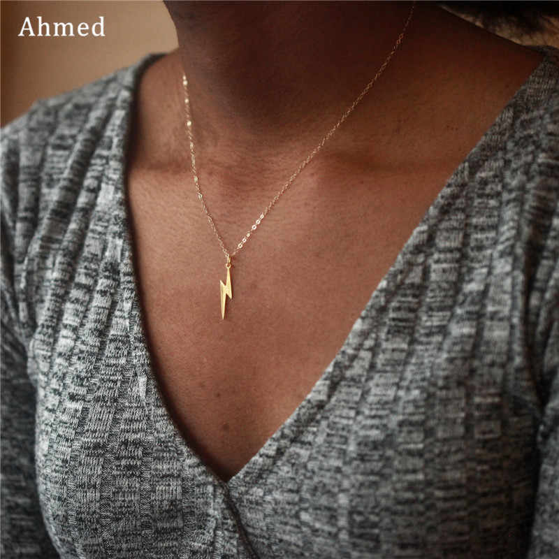 Ahmed 2019 New Fashion Minimalist Small Lightning Pendant Necklaces for Women Gold Silver Mini Charm Sweater Chain Necklace