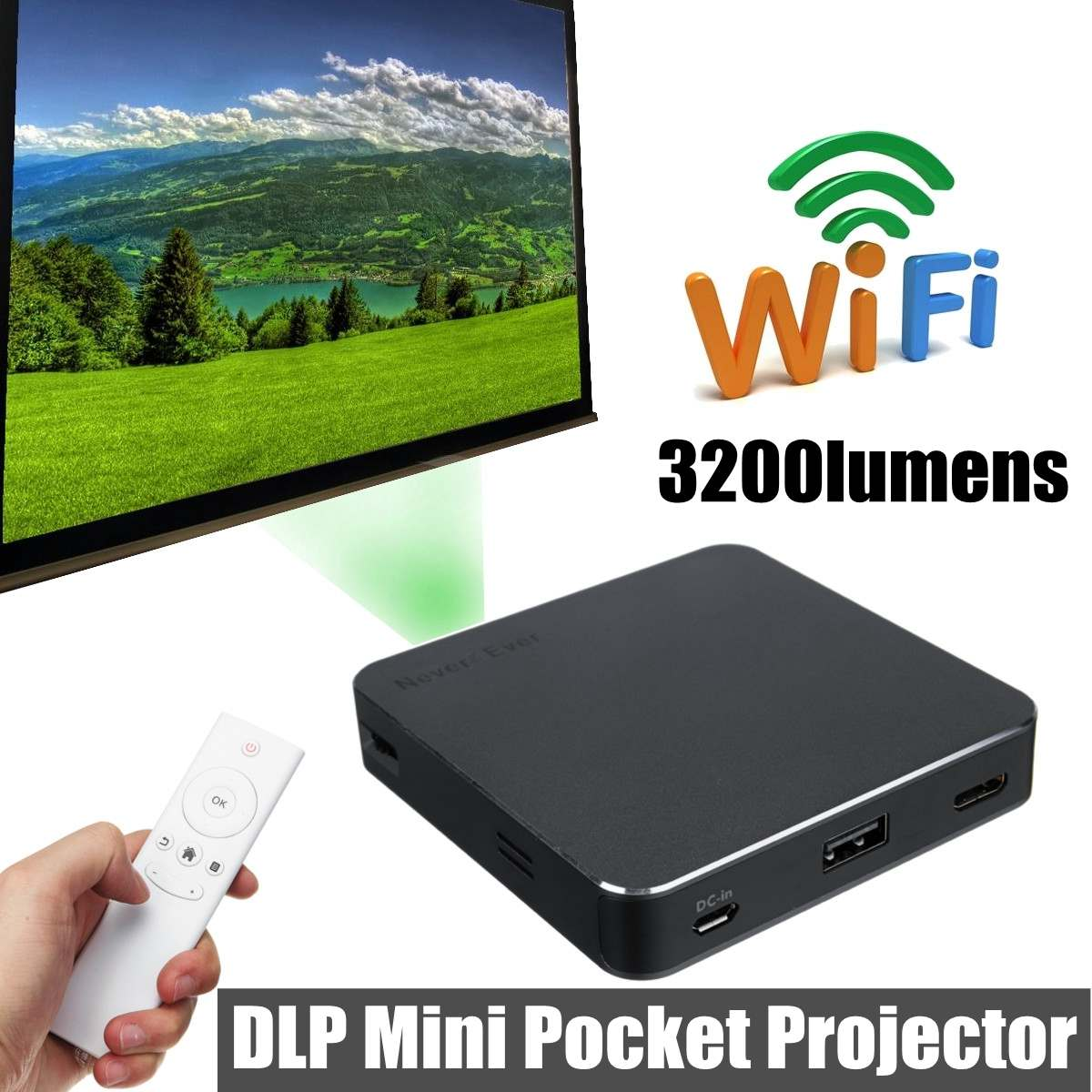 DLP-S5 Wifi DLP <font><b>7000</b></font> <font><b>Lumens</b></font> HD 1080P Mini P ocket LED Video Projector HDMI USB Multimedia P ocket Projektor image