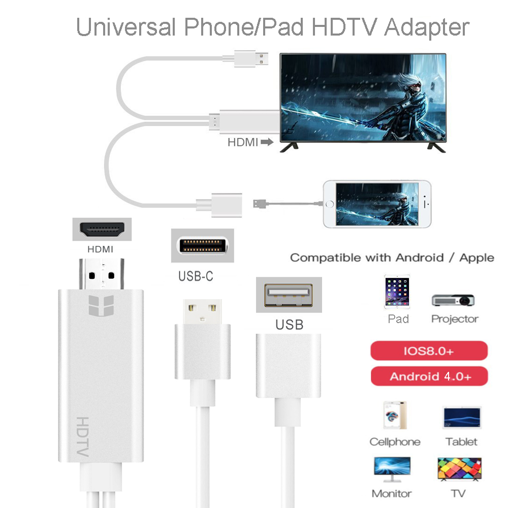 separation shoes c5624 1fe5c US $26.55 |HDMI Cable Adapter for iPhone 8 X 7 6s Plus iPad TV Android  Phones to HDMI Adapter Full HD 1080P USB HDMI Converter Cable HDMI-in  Mobile ...