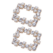 2Pcs/Set Shoe Clip DIY Shoes High Heel Sandals Decoration Luxury Rhinestone Pearl Simulation Jewelry Square Hollow Ornaments(China)