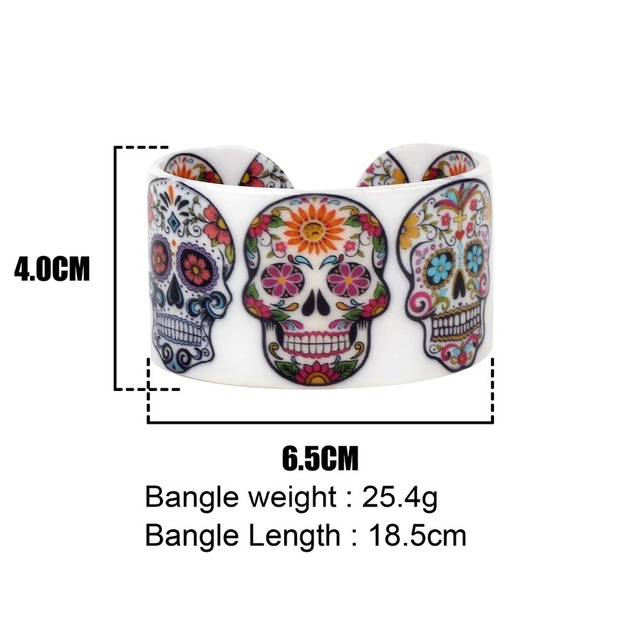 Bonsny Plastic Floral Halloween Smile Skeleton Skull Bangles Bracelets Punk Indian Craft Jewelry For Women Girls Teens Accessory 5