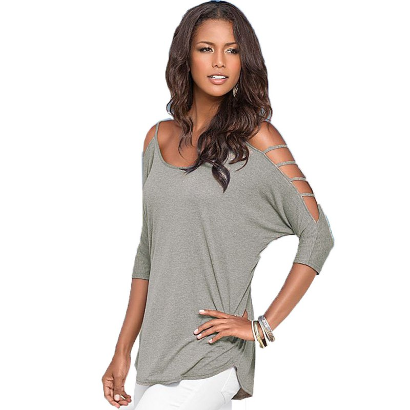 fashion women off shoulder sexy hollow out round neck tee shirt