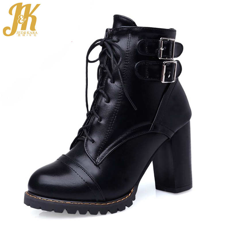 Plus Size 34-47 Elegant Thick High Heels Buckle Short Boots Add Fur Fashion Lace Up Skid Proof Platform Fall Winter Shoes Woman high quality lace up nubuck short boots women thick high heels platform shoes woman with fur skid proof fall winter suede boots