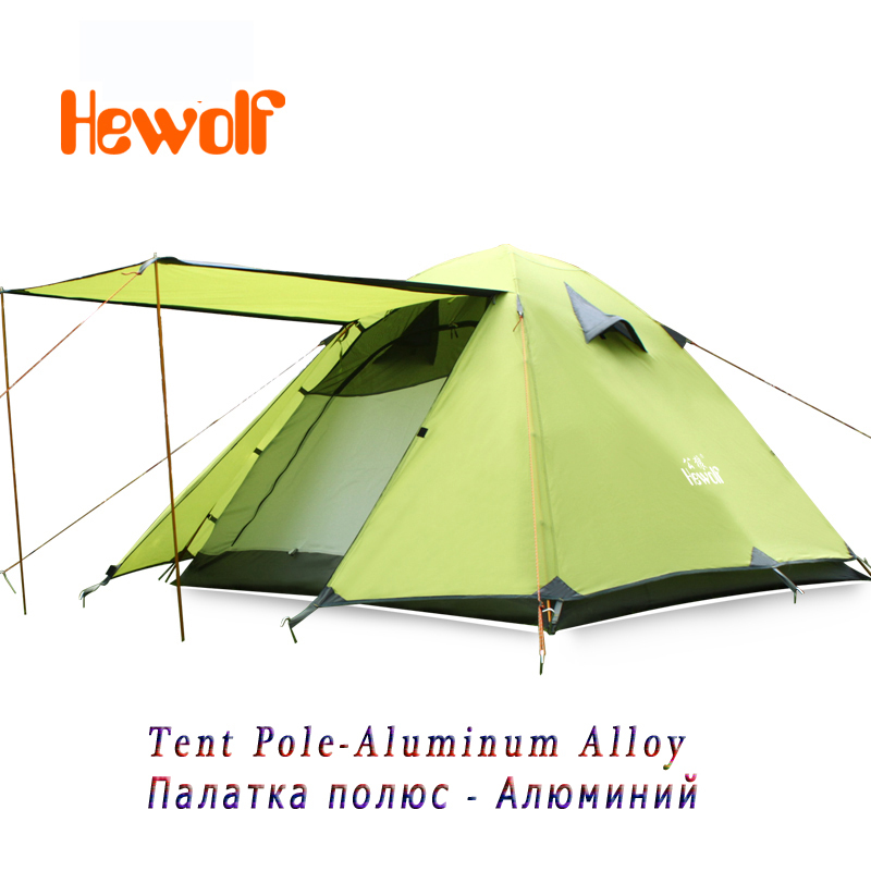 Camping Tent Automatic Waterproof Double Layer 3 4 Outdoor Hiking Hewolf Beach 2014 New High Quality Aluminum Alloy Four Season hewolf 2persons 4seasons double layer anti big rain wind outdoor mountains camping tent couple hiking tent in good quality