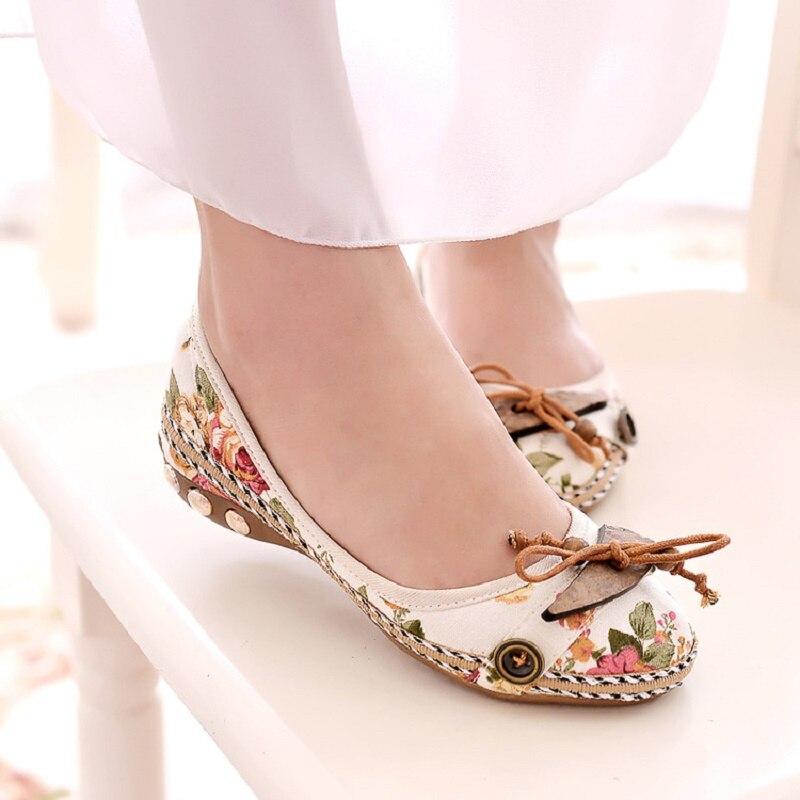 Chaussures Chinois Peu Plat Fond Femme Beige Mou Confortable Broderie Et Style Nouveau Printemps Bouche D'été 2018 Rond Profonde vRq0fYwx