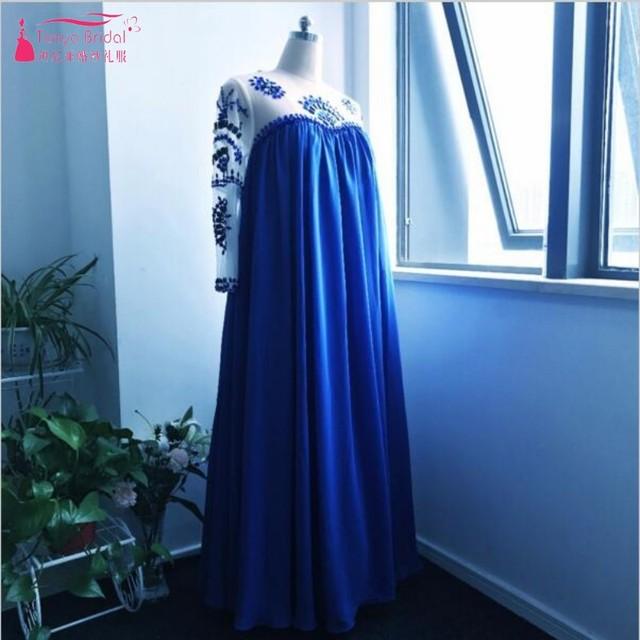 Спинки Линия беременных женщин вечернее платье с одежда с длинным рукавом синий кристалл Высокая талия вечернее платье