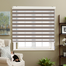 Adjustable Sunlight Home Apricot color Valance Dual Roller Blinds Customized Zebra