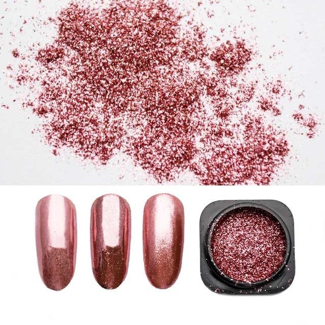 1 Box Rose Gold Mirror Nail Glitter Powder Shining Nail Art Chrome Pigment Dust Gel Polish Nail Decoration SF3006