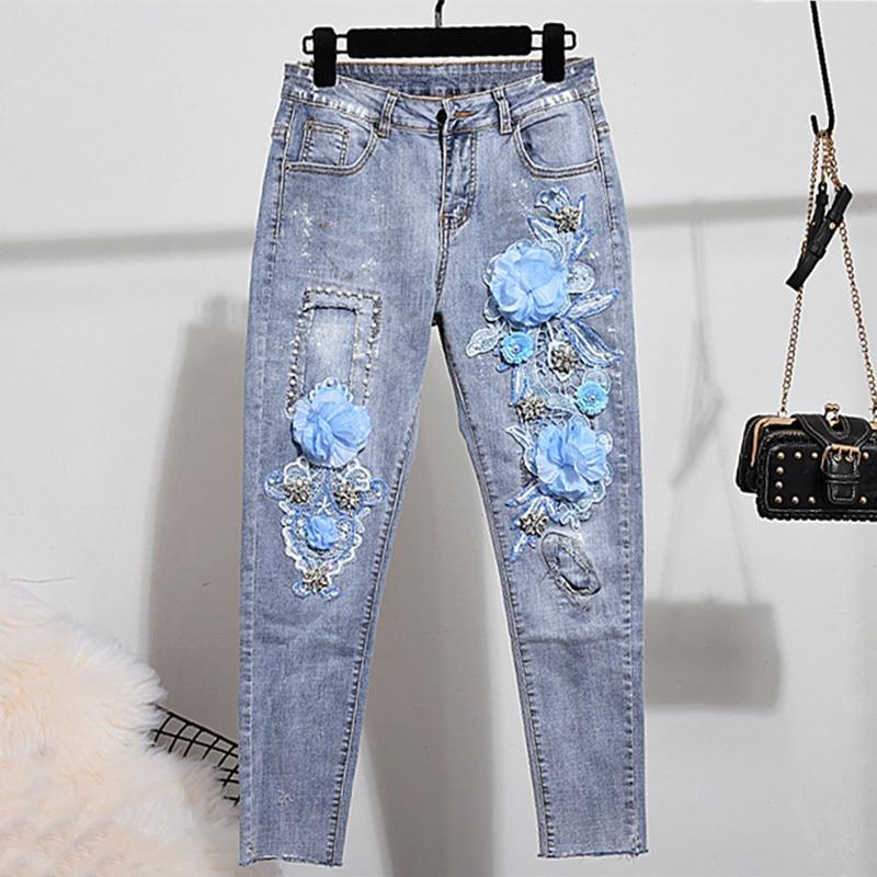 Elastic Skinny Denim Woman Ripped Jeans Beading Mid Waist Full Length Women Stretch Jeans Women s