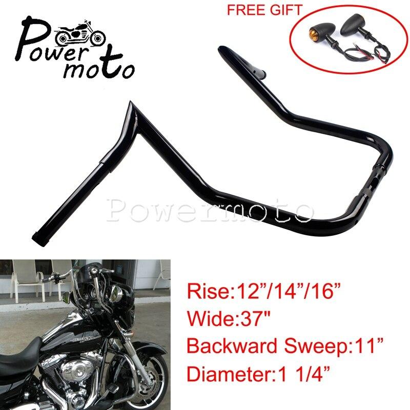 """Chrome Rise 12/"""" Ape Hanger Handlebar 1-1//4/"""" For Harley Touring Dressers Baggers"""