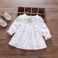 Nueva niña vestido bordado bebé ropa incluso durante la nueva primavera y el otoño muñeca camisa de manga larga joker doble capa