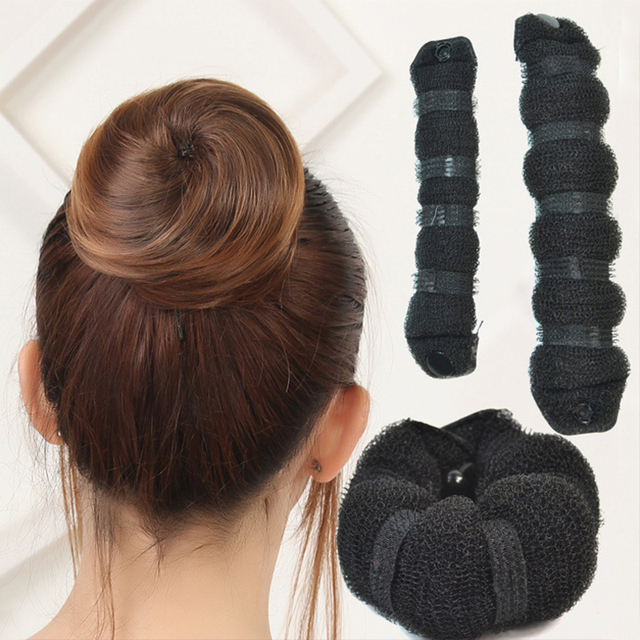 2 Pcs Women Girls Kids Magic Hair Styling Donut Bun Maker Former