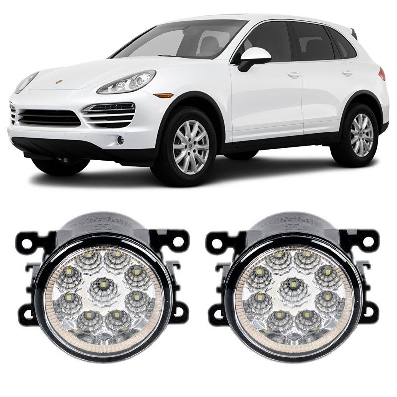 Car Styling For Porsche Cayenne 2011 2016 9 Pieces Led Fog Lights H11 H8 12V 55W Fog Head Lamp