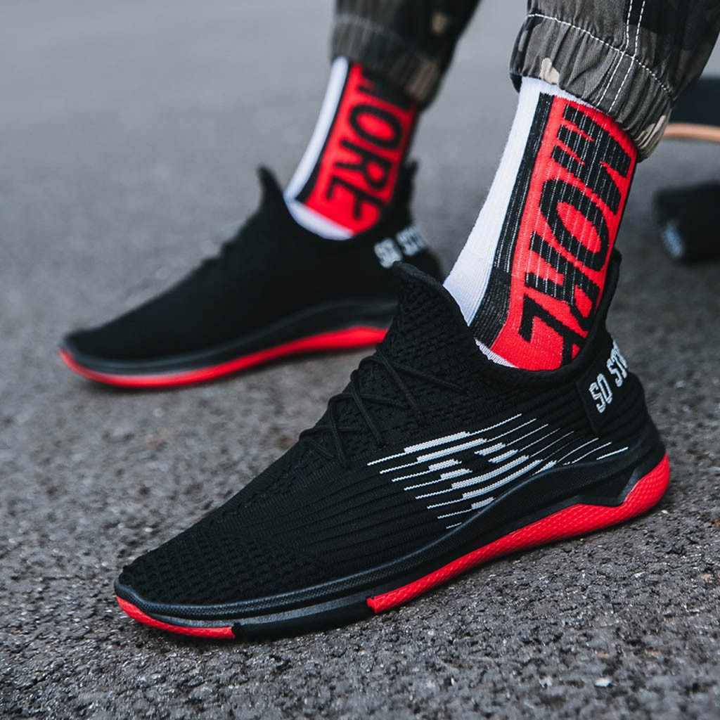 CHAMSGEND ฤดูร้อน Men's Breathable Casual รองเท้าตาข่ายกีฬาน้ำหนักเบาสบายๆกีฬาแนวโน้มรองเท้าลื่น