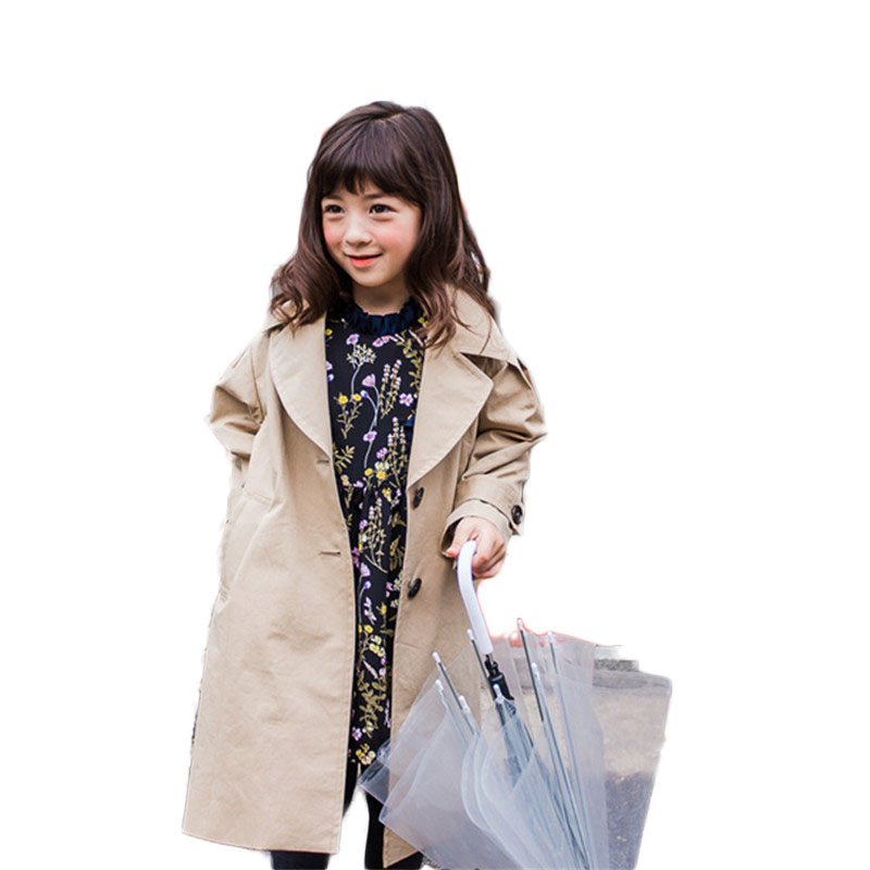 2018 Spring Autumn New Fashion Big Girls Trench Coats Baby Kids Long Jackets Windbreaker Teenage Outerwear Clothing 2-10Y P165 weixu girls spring autumn trench jackets coats new children s zipper hooded long jacket coat kids windbreaker outerwear clothing