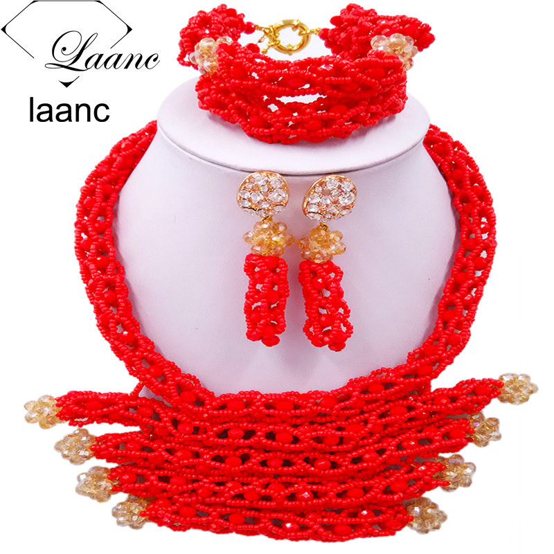 Fashion Women Costume Crystal Beaded Necklace Red African Beads Jewelry Set for Nigerian Wedding BZDJ002 все цены