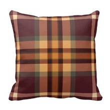Pillow Cover Print Earthy Plaids Tartan Pattern Cushion Pillow Case (Size: 20″ by 20″) Free Shipping